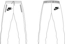 运动服装 长裤正反面图片