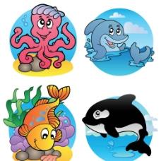 卡通海洋生物矢量素材图片