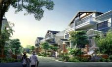 南园别墅小区环境效果图广告设计图片