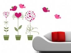 矢量墙贴 小花盆