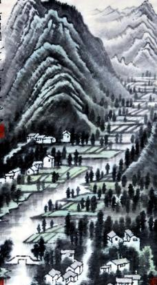 雨过山村图图片