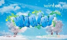 winter艺术字和冬季梦幻背景