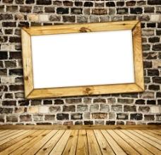 怀旧古典木地板石头墙相框图片