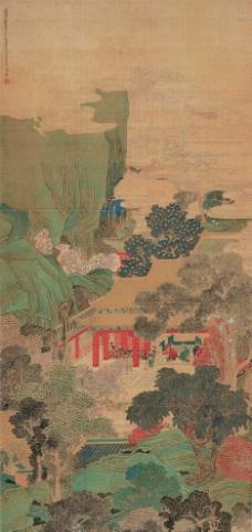 青绿山景古画图片