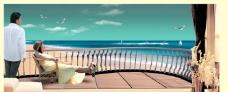 宽景阳台海景图片