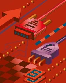 动感箭头数据线通讯科技背景图片