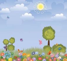 春天背景矢量素材图片