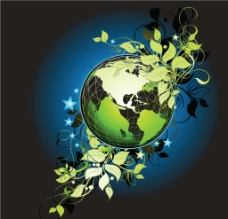 动感线条 树叶 藤条 缠绕 地球图片